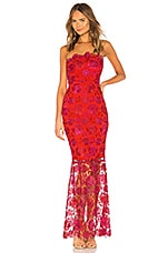 Lovers + Friends Teagan Gown in Magenta & Red