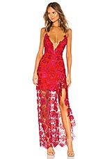 Lovers + Friends Tarron Gown in Magenta & Red
