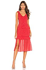 Lovers + Friends Sukey Midi Dress in Strawberry & Peach