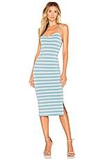 Lovers + Friends Julianne Midi Dress in Rose & Blue Stripe