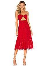 Lovers + Friends Yvette Midi Dress in Berry Red