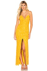 Lovers + Friends Xiomara Gown in Mustard Yellow