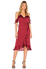 Lovers + Friends x REVOLVE Gigi Wrap Midi in Cabernet