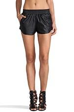 Lovers + Friends Vegan Leather Soccer Shorts in Black
