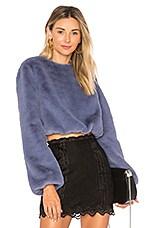Lovers + Friends x REVOLVE Teagan Faux Fur Sweater in Cerulean