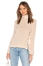 Lovers + Friends Hally Lace Up Sweater in Grapefruit