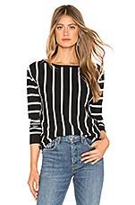 Lovers + Friends Quentin Sweater in Black & White Stripe