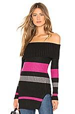 Lovers + Friends Karla Sweater in Black & Shiny Stripe