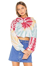 Lovers + Friends Tie Dye Crop Hoodie in Sorbet Swirl