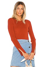 Lovers + Friends Early Morning Pullover in Brick