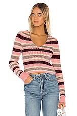 Lovers + Friends Thalia Sweater in Apricot Stripe