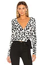 Lovers + Friends Leopard Wrap Sweater in Snow Leopard