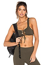 Lovers + Friends WORK by Lovers + Friends Prima Lace Up Bra in Army