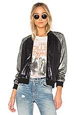 Lovers + Friends x REVOLVE The Sequin Bomber in Navy & Grey