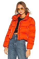 Lovers + Friends Starburst Puffer Jacket in Orange