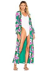 Lovers + Friends Ellis Robe in Kelly Green Floral