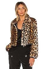 Lovers + Friends Dylan Faux Fur Puffer in Leopard