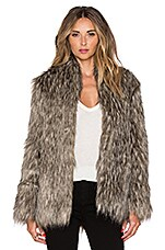 Lovers + Friends Selena Faux Fur Coat in Brown