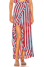 Lovers + Friends Waves For Days Wrap Skirt in Americana Stripe