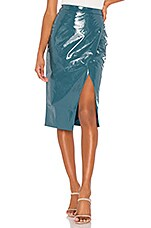Lovers + Friends Michelle Faux Leather Skirt in Moroccan Blue
