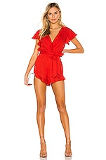 Lovers + Friends Getaway Romper in Red