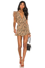 Lovers + Friends Jill Romper in Tan Leopard