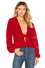 Lovers + Friends Theo Blouse in Berry Red