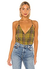 Lovers + Friends Bianca Bodysuit in Yellow Plaid