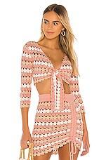 Lovers + Friends Plume Crochet Sweater in Strawberry Stripe