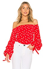 Lovers + Friends Emery Blouse in Red & White