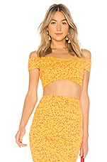Lovers + Friends Tart Crop Top in Goldenrod Ditsy