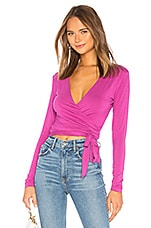 Lovers + Friends Nia Wrap Top in Berry