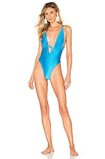 Lovers + Friends Tousled One Piece in Blue