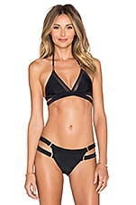 Lovers + Friends I'm For Sheer Bikini Top in Black