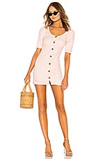 LPA Puff Sleeve Button Up Dress in Baby Pink