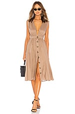 LPA Shirred Button Up Dress in Khaki