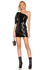 LPA Sheyla Leather Mini Dress in Black