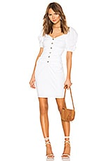 LPA Shirred Button Up Dress With Puff Sleeve in White