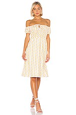 LPA Mattia Dress in White and Yellow