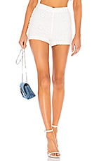 LPA High Waist Short With Side Ruffles in White