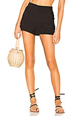 LPA High Waist Short With Side Ruffles in Black