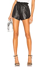 LPA Nina Leather Shorts in Black