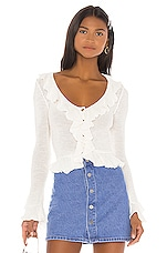 LPA Ruffle Sweater Cardigan in White