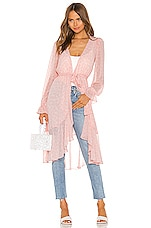 LPA Ruffle Duster With Peasant Sleeve in Pink Leopard