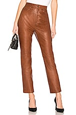 LPA Leather Straight Leg Pants in Brown
