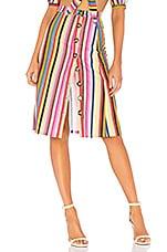 LPA Button Up Midi Skirt in Rainbow Stripe
