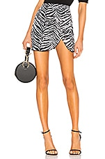 LPA Draped Mini Skirt in Zebra