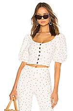 LPA Polka Dot Button Up Top in Tan & White
