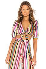LPA Tie Front Top in Rainbow Stripe