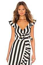 LPA Wrap Top With Cap Puff Sleeve in Black & White